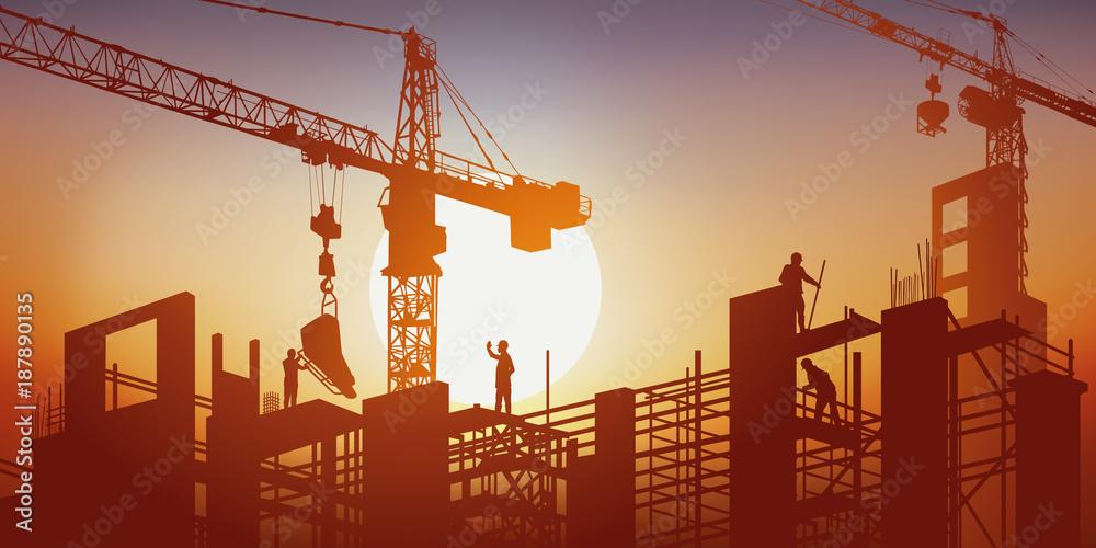 Fototapeta chantier - BTP - grue - construction - bâtiment - construire - ouvrier - béton - concept - travaux publics,