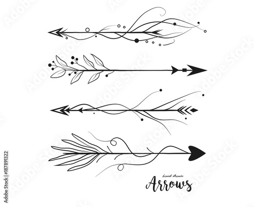 Foto auf AluDibond Boho-Stil Arrow hand drawn set. Vector arrows collection in boho rustic style. Linear beautiful ornate with curve dots vintage illustration. Decorative lovely pattern arrows icon art selection for design