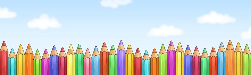 Fototapeta Do przedszkola Viele bunte Buntstifte vor blauem Himmel
