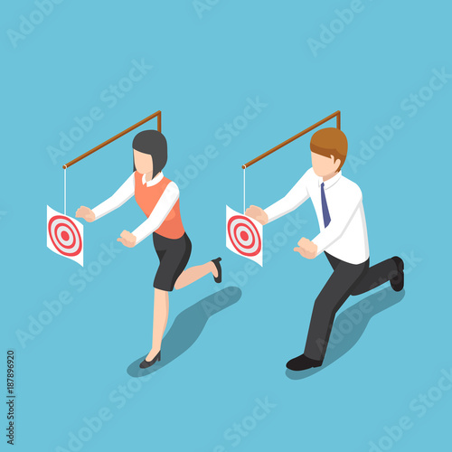 Cuadros en Lienzo Isometric business people try to catch target.