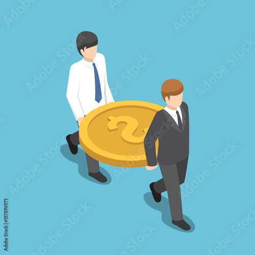Obraz Isometric two businessman carrying big dollar coin. - fototapety do salonu