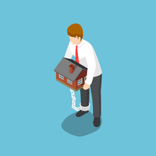 Isometric Businessman Carrying...