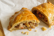 Welsh Oggie A Delicacy From Wales Of Lamb Leeks And Vegetables Baked In Pastry Similar To A Cornish Pasty