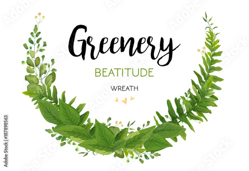 Floral vector invite card with green eucalyptus fern leaves elegant floral vector invite card with green eucalyptus fern leaves elegant greenery berry forest half round stopboris Gallery