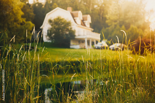 Fototapeta rural view, blurred background. pond and house in the distance at sunset obraz