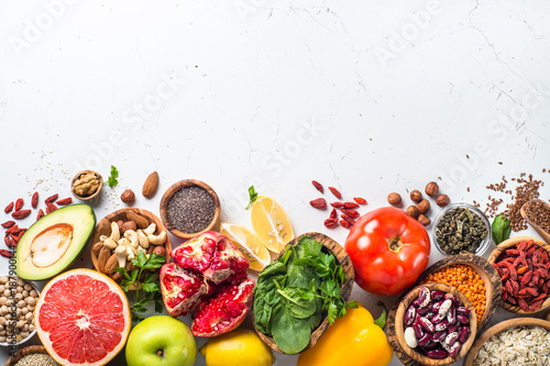 Balanced diet food background. Tableau sur Toile