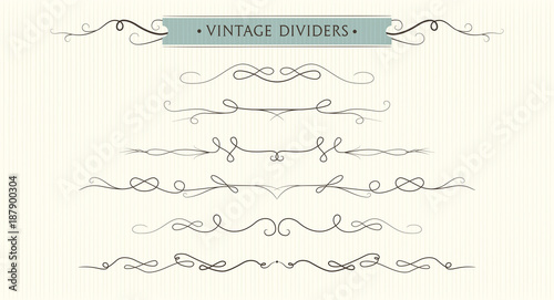 Vector Hand Drawn Flourishes Dividers Graphic Design Element Set Cute Vintage Borders