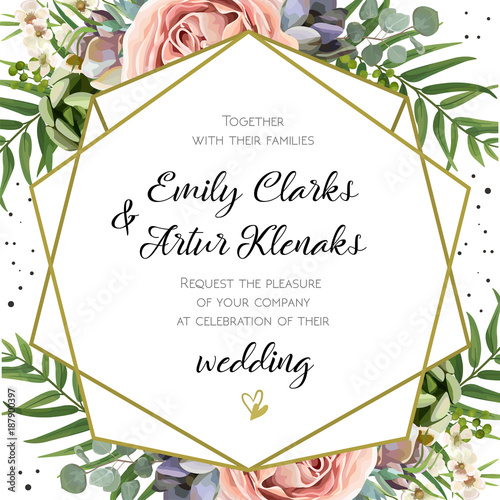 Wedding invitation floral invite card design peach lavender pink wedding invitation floral invite card design peach lavender pink garden rose succulent stopboris Image collections