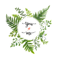 NaklejkaGreen Leaves foliage vector round greenery leaf wreath of eucalyptus branches forest fern frond herb plant assortment mix card design Delicate natural rustic elegant watercolor illustration text space