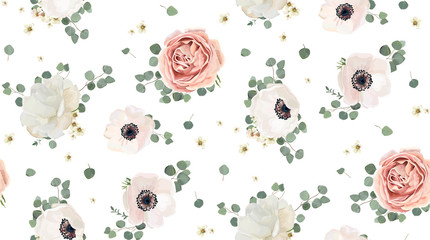 NaklejkaSeamless pattern Vector floral watercolor design: garden rose peony, powder white pink Anemone flower silver Eucalyptus branch green thyme wax flowers greenery leaves. Rustic romantic background print