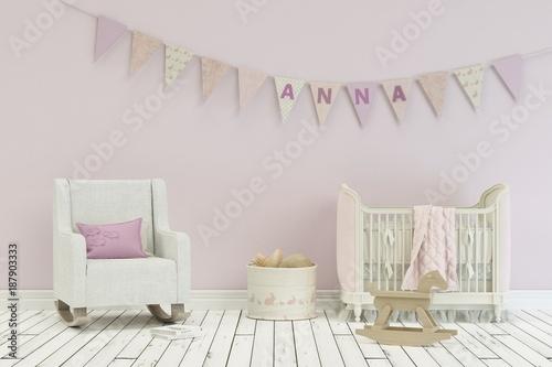 фотография  Kinderzimmer mit Wimpelgirlande - Name Anna