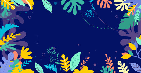 Colorful, vibrant colors palm leaves background. Tropical illustration, Jungle foliage