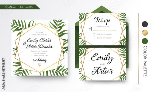 Wedding invitation save the date rsvp invite card design with wedding invitation save the date rsvp invite card design with green tropical forest palm stopboris Image collections