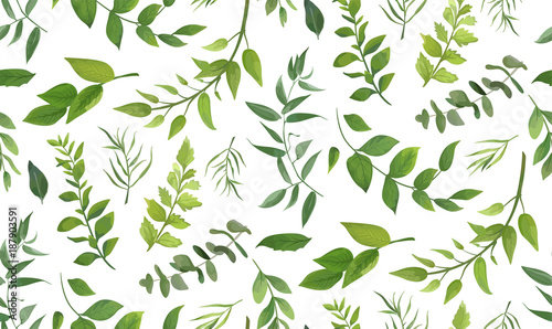 Spoed Foto op Canvas Kunstmatig Seamless pattern of Eucalyptus palm fern different tree, foliage natural branches, green leaves, herbs, tropical plant hand drawn watercolor Vector fresh beauty rustic eco friendly background on white