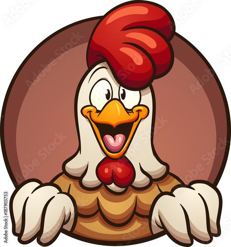 Fotografía Cartoon chicken peeking out of a round hole