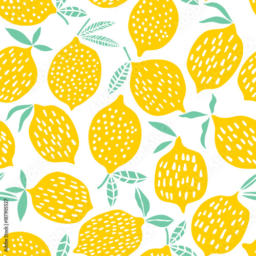 Carta da parati Lemon seamless pattern vector illustration. Summer design