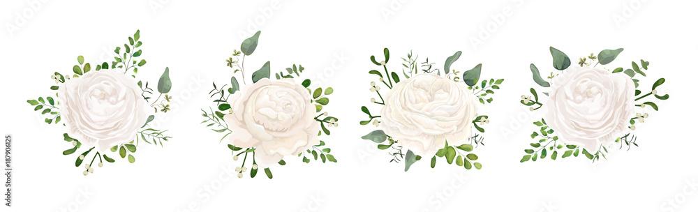 Fototapety, obrazy: Vector floral bouquet design: white garden Ranunculus, Rose flower, fern, eucalyptus, mistletoe branch greenery leaves berry. Wedding vector invite card Watercolor watercolor cute designer element set