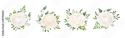 Vector floral bouquet design: white garden Ranunculus, Rose flower, fern, eucalyptus, mistletoe branch greenery leaves berry Canvas Print