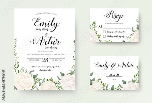 Obraz Wedding Invitation floral invite Rsvp cute card vector Designs set: white garden Ranunculus, Rose flower, fern, eucalyptus, mistletoe green leaf & berry romantic trendy greenery forest rustic bouquets - fototapety do salonu