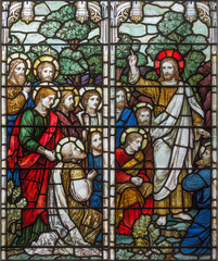 NaklejkaLONDON, GREAT BRITAIN - SEPTEMBER 17, 2017: The Apparition of resurected Jesus to apostle on the stained glass in church Holy Trinity Brompton.