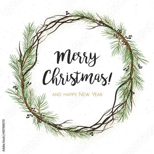 Christmas Greenery Vector.Vector Greeting Card Invite Pine Tree Greenery Brown