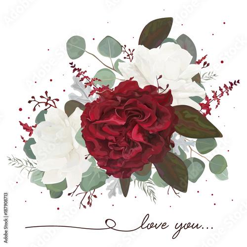 Wektor bukiet kwiatowy wzór: czerwony ogród, bordo Kwiat róży, biała piwonia, eukaliptusowy oddział, amaranthus i srebrne zielone liście paproci, element projektu akwarela. Ślub zaprosić karty, pozdrowienia
