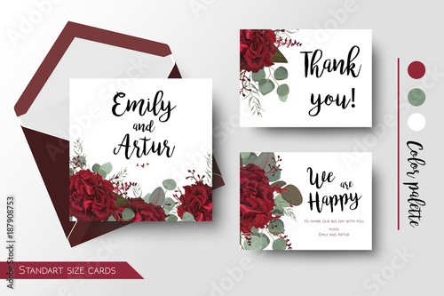 Wedding Invite Invitation Thank You Greeting Rsvp Card Set