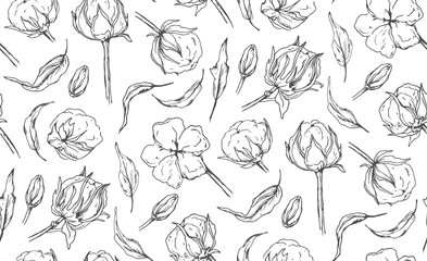 Seamless pattern with cotton ball flower, leaves hand drawn ink natural designer elements. Beautiful, cute lovely art drawing, sketch wallpaper, textile fabric design. Gray ructic  linear illustration