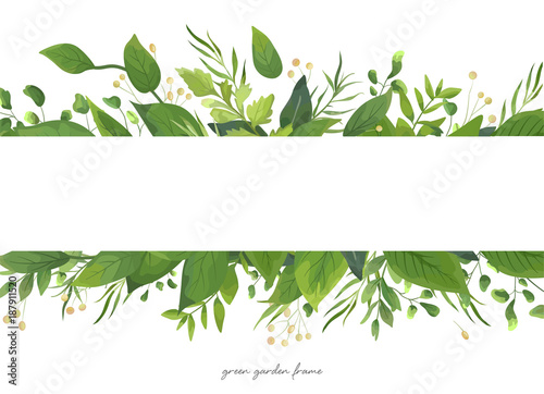 Vector Card Floral Design With Green Watercolor Fern Leaves Tropical Forest Greenery Herbs Decorative Frame