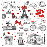 Fototapeta Fototapety Paryż - Set of hand drawn French icons, Paris sketch illustration