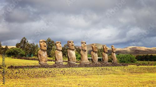Photo Ahu Akivi was the first restored Ahu, seven moai facing the rising sun, represen