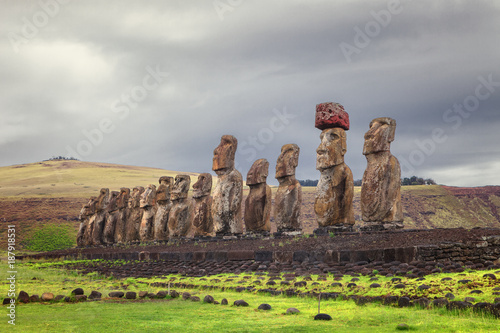 Ahu Tongariki, is the largest ahu on Easter Island, Chile Wallpaper Mural