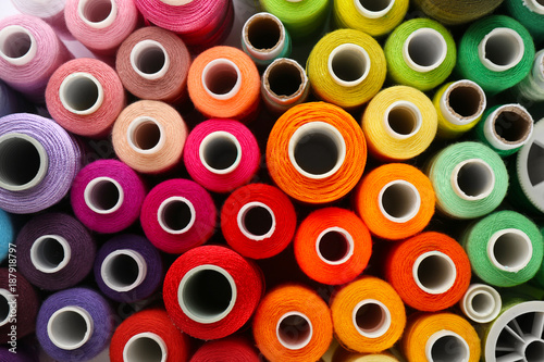 Many colorful threads, top view Fototapet