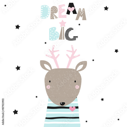 Dream big fashion slogan with cute little deer  Vector hand drawn