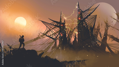 man walking to the spider web castles at sunset, digital art style, illustration painting