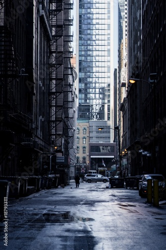 Wall Murals Narrow alley Wet Winter Alley