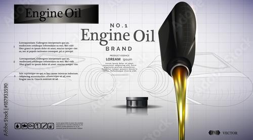 Fotografía  Bottle of engine oil. Oil flows