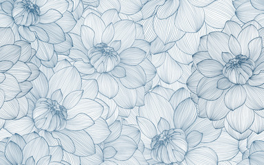 FototapetaSeamless pattern with hand drawn dahlia flowers.