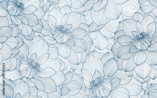 Seamless pattern with hand drawn dahlia flowers. - 187934325