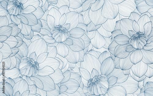Foto-Schiebegardine ohne Schienensystem - Seamless pattern with hand drawn dahlia flowers.