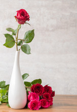 Red Rose In White Vase And Mar...