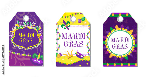 Mardi gras carnival tags set labels collection with feather mask labels collection with feather mask bunting beads maxwellsz