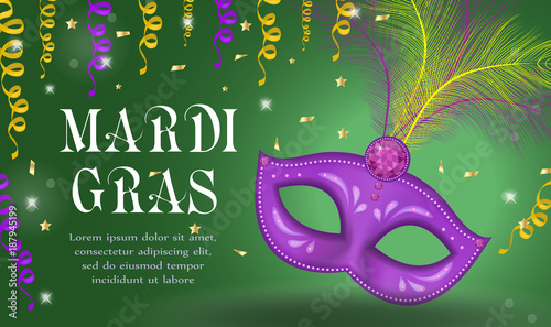 Stampa su Tela Mardi Gras carnival poster, invitation, greeting card