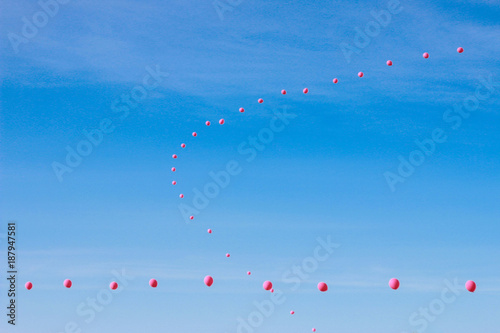 Scenic view of sky balloons in air