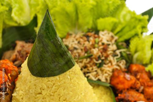 indonesian food nasi tumpeng for celebration