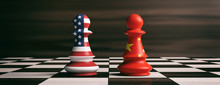 USA And China Flags On Chess P...