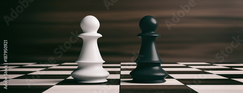 Fotografie, Obraz White and black chess pawns on a chessboard. 3d illustration