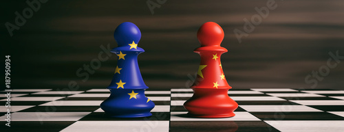Photo China and European Union flags on chess pawns on a chessboard