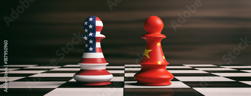 Photo  USA and China flags on chess pawns on a chessboard