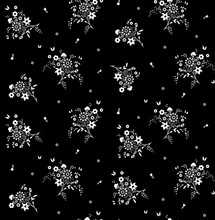 Seamless Cute Black And White Flower Pattern